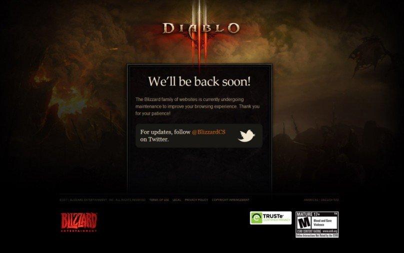 twitter page for Diablo III servers