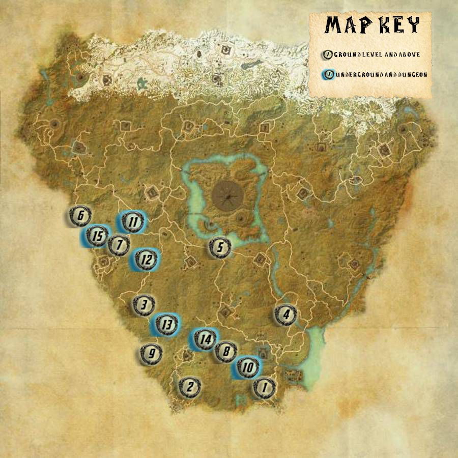 Cyrodiil Aldmeri Skyshards Locations Map Guide