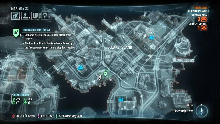 Batman Arkham Knight Gotham On Fire Map 1