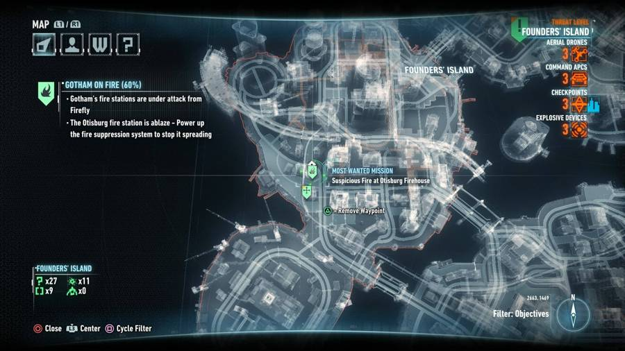 Batman Arkham Knight Gotham On Fire Map 2