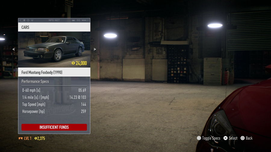 Need For Speed Ford Mustang Foxbody Stats