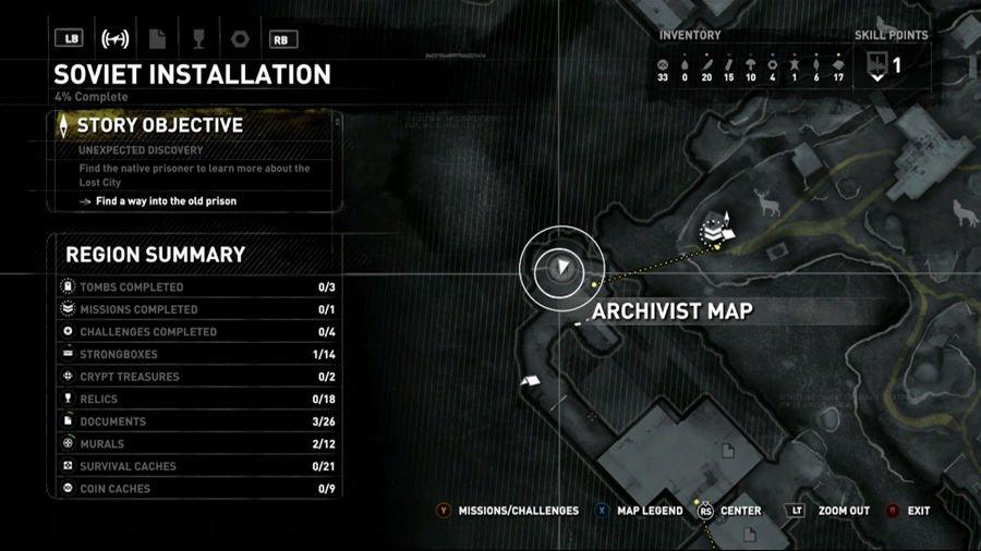 Rise Of The Tomb Raider Siberia Archivist Map 1