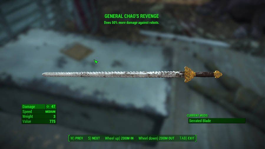 Where To Find The Best Weapons In Fallout 4 - General Chao's Revenge Sword