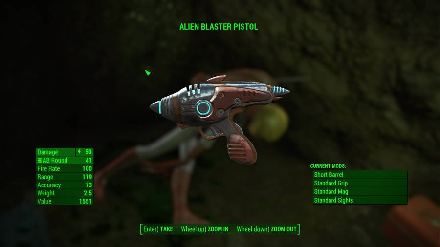 Where To Find The Best Weapons In Fallout 4 - The Alien Blaster Pistol