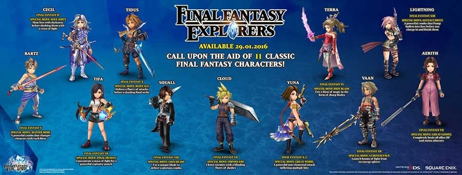 Final Fantasy Explorers Legendary Characters