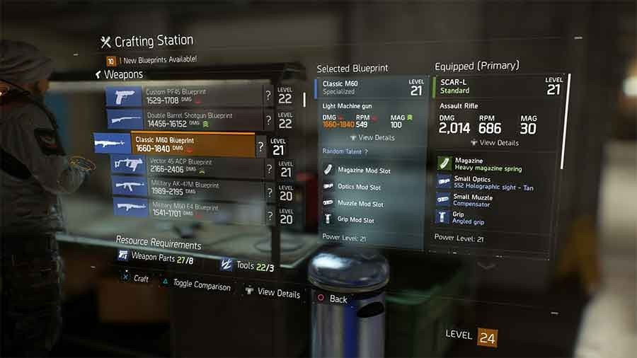 Tom clancys the division crafting blueprints location guide all classic m60 blueprint malvernweather Images