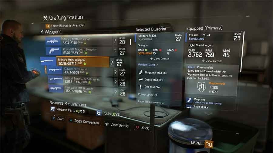 Tom clancys the division crafting blueprints location guide all military m870 blueprint malvernweather Gallery