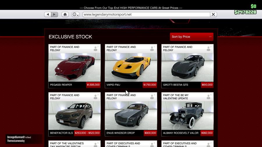 all legendary cars in gta 5 online