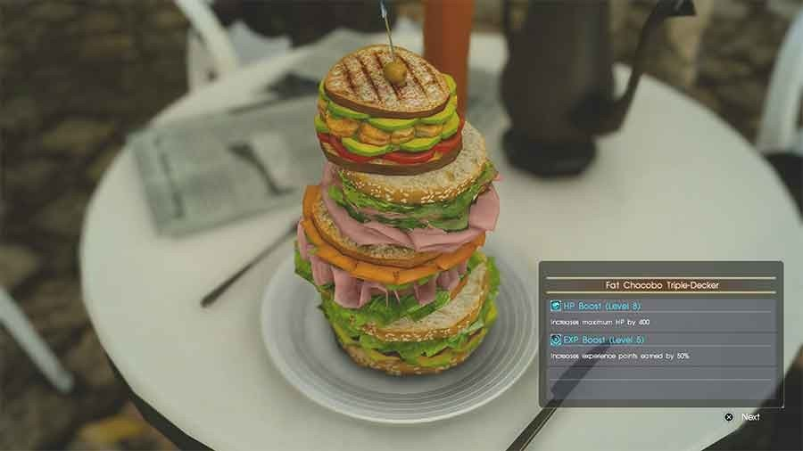 Final Fantasy XV Recipes & Foods That Boosts Experience