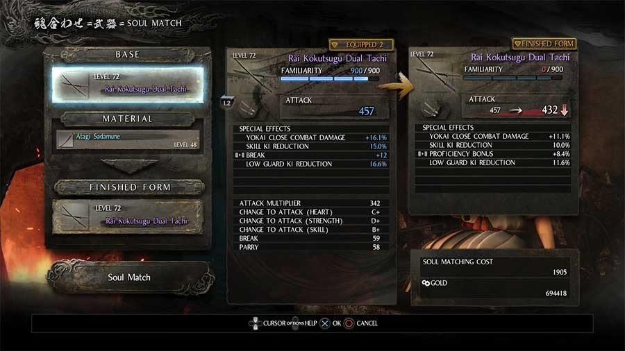 Nioh Blacksmith Guide - Soul Match & Reforge Guide