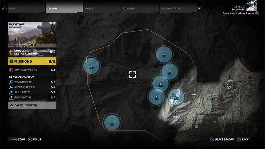 Barvechos Region Skill Points Map