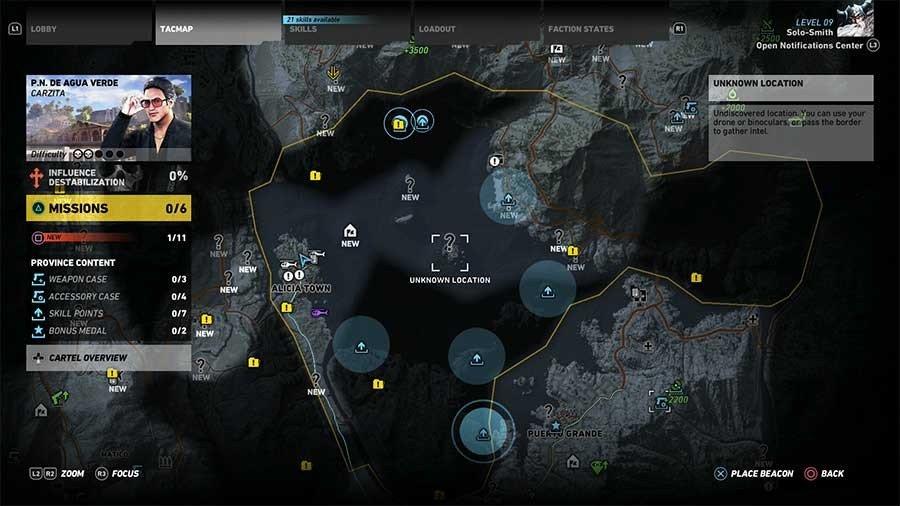 De Agua Verde Region Skill Points Map