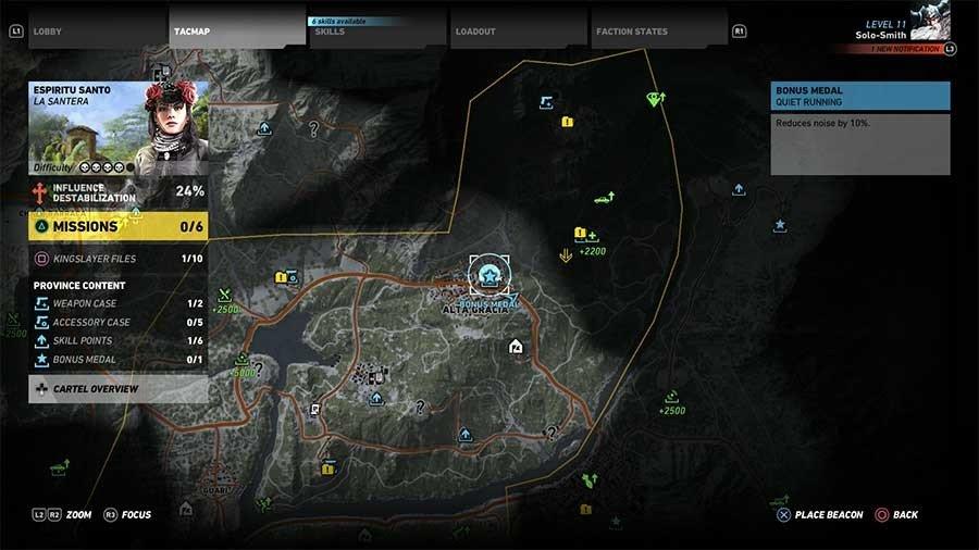 Espiritu Santo Region Bonus Medals Map