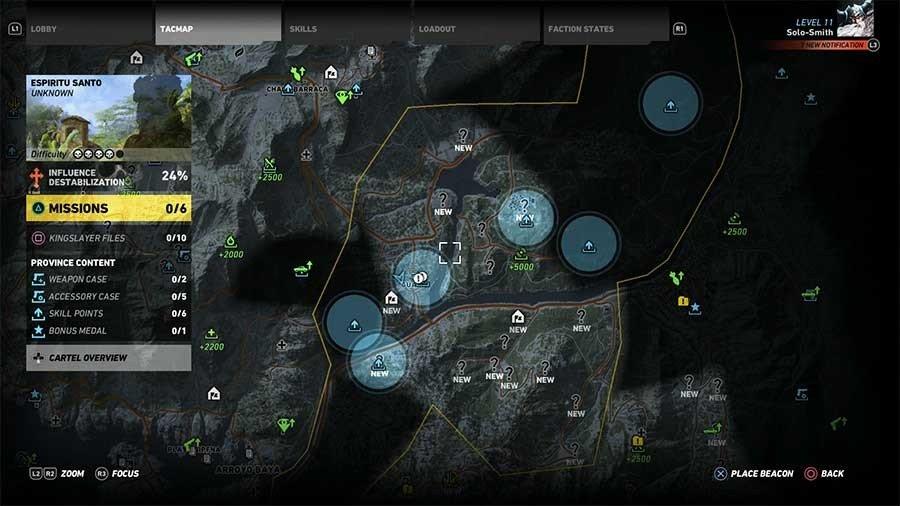 Espiritu Santo Region Skill Points Map
