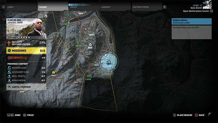 Flor De Oro Region Bonus Medals Map