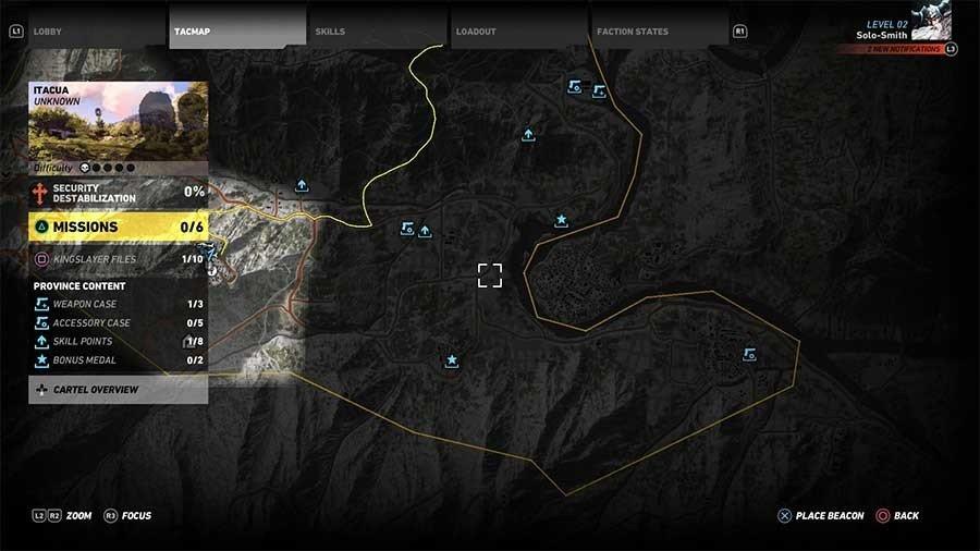 Ghost Recon Wildlands Bonus Medals Map - Itacua Region