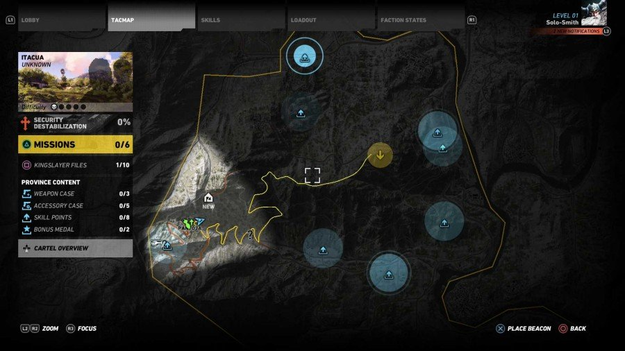 Ghost Recon Wildlands Skill Points Map - Itacua Region Map