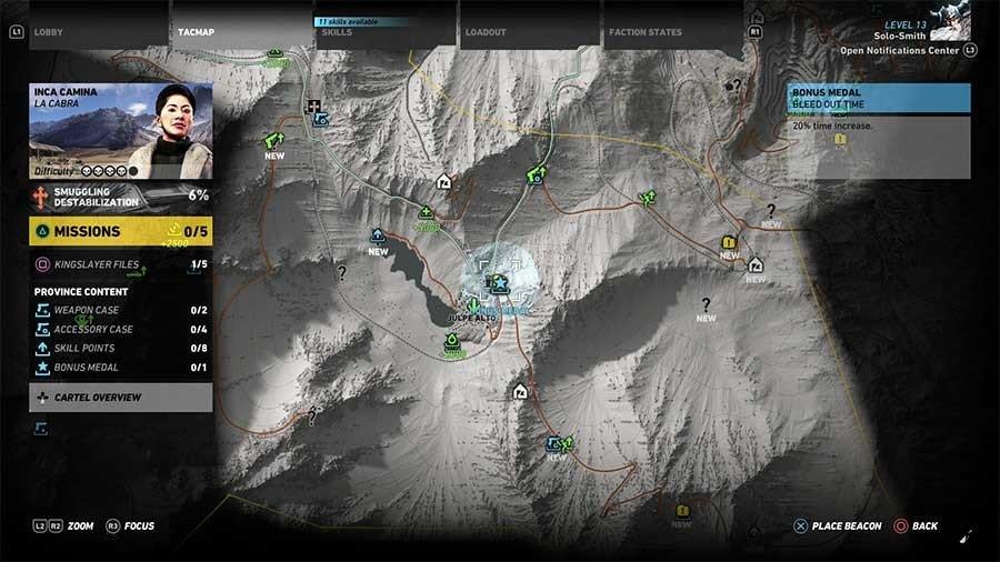 Inca Camina Region Bonus Medals Map