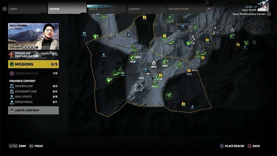 Inca Camina Region Rebel Ops Map