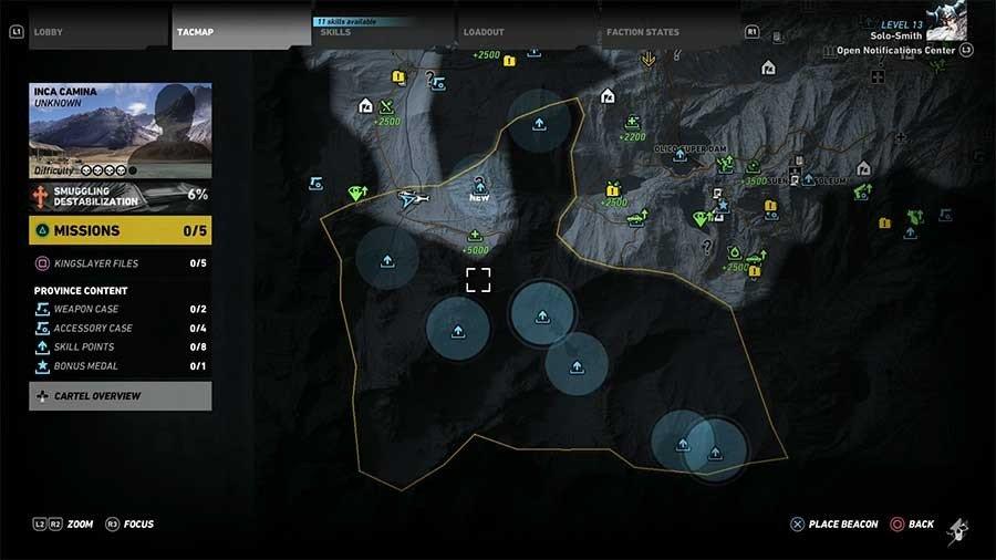 Inca Camina Region Skill Points Map