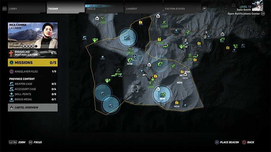 Inca Camina Region Weapon Case & Accessory Map