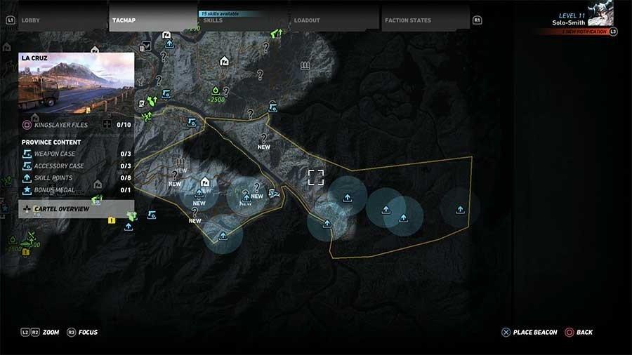 La Cruz Region Skill Points Map