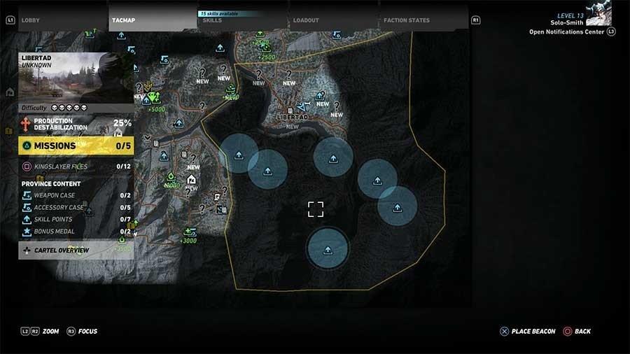 Libertad Region Skill Points Map