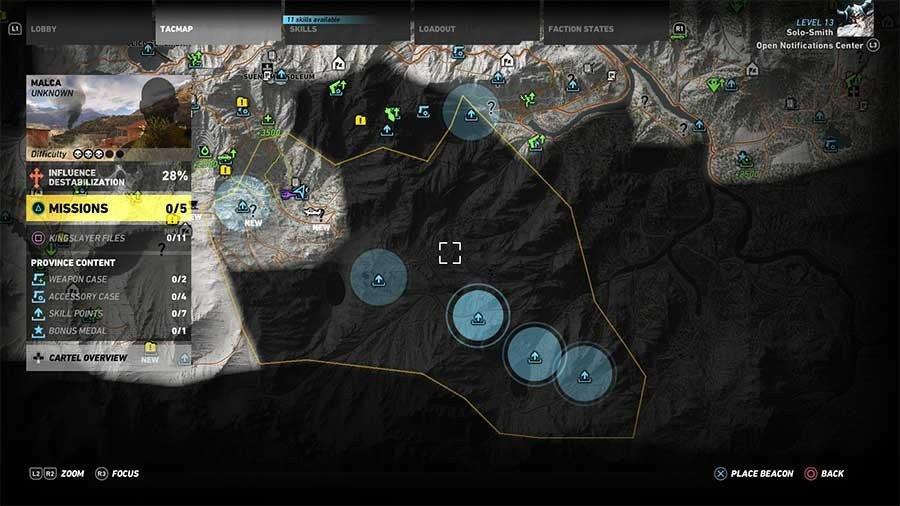 Malca Region Skill Points Map