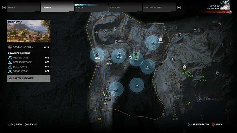 Media Luna Region Skill Points Map
