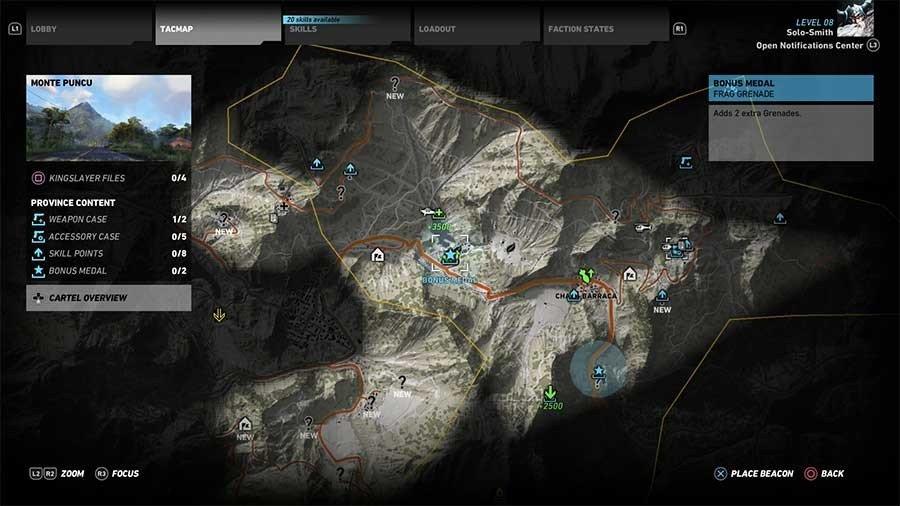 Monte Puncu Region Bonus Medals Map