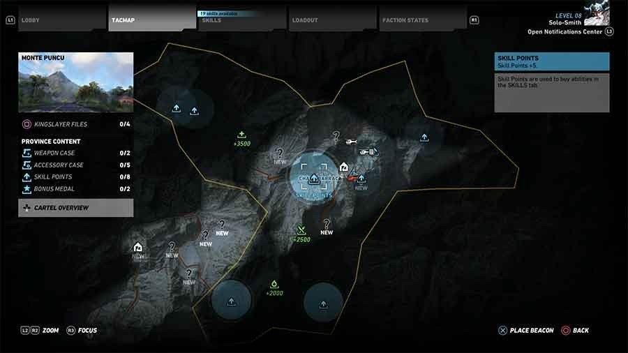 Monte Puncu Region Skill Points Map