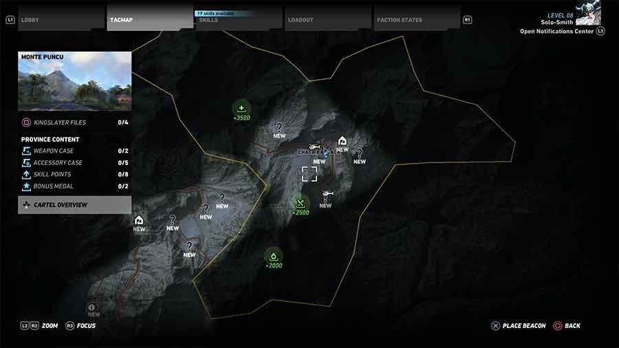 Monte Puncu Region Supplies Map