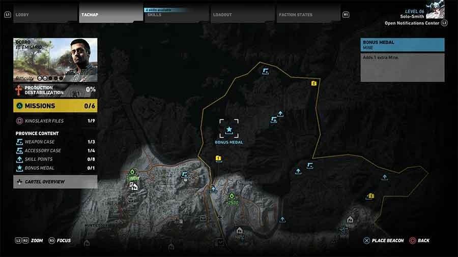 Ocoro Region Bonus Medals Map