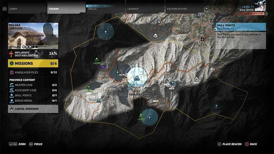 Pucara Region Skill Points Map