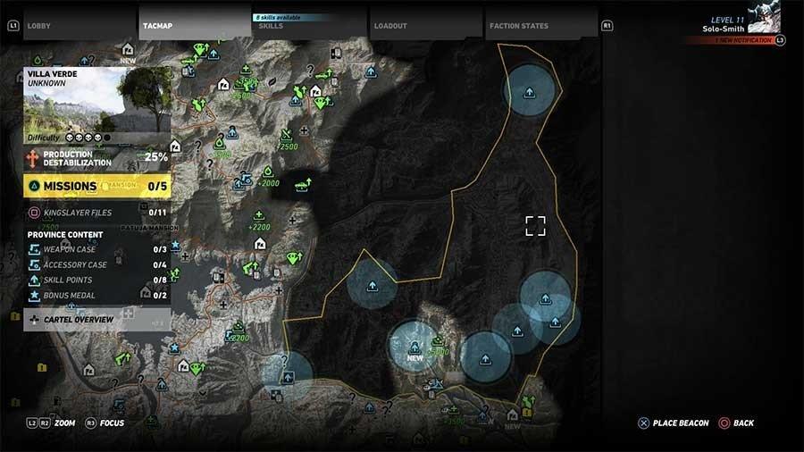 Villa Verde Region Skill Points Map