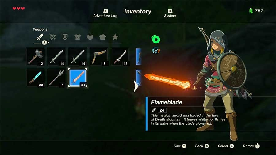 Zelda Breath Of The Wild Rare Armor & Weapon Guide Flameblade