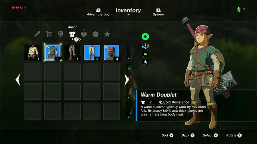 Zelda Breath Of The Wild Rare Armor & Weapon Guide Warm Doublet