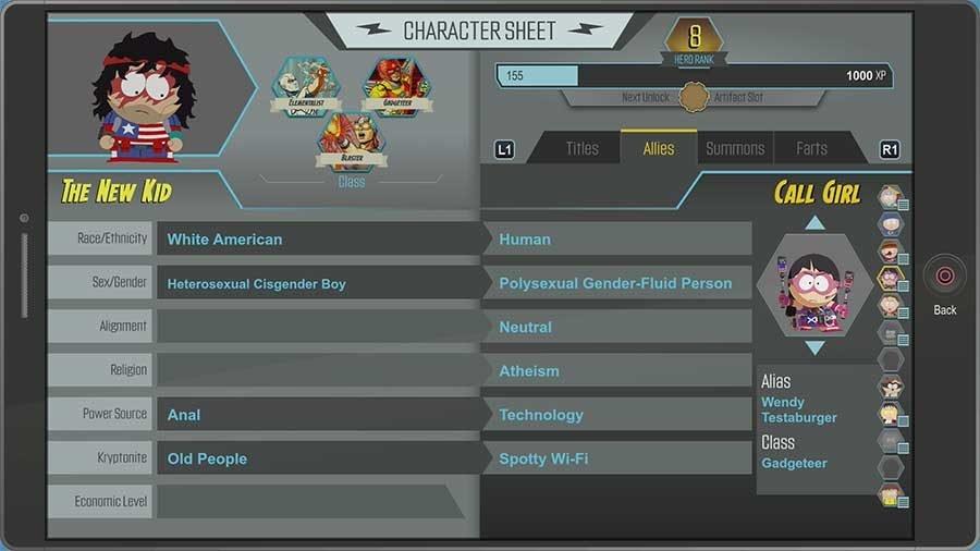 Call Girl Character Sheet