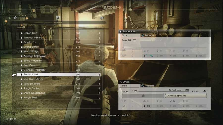 Final Fantasy XV Comrades Weapon Remodeling Guide Ingredients