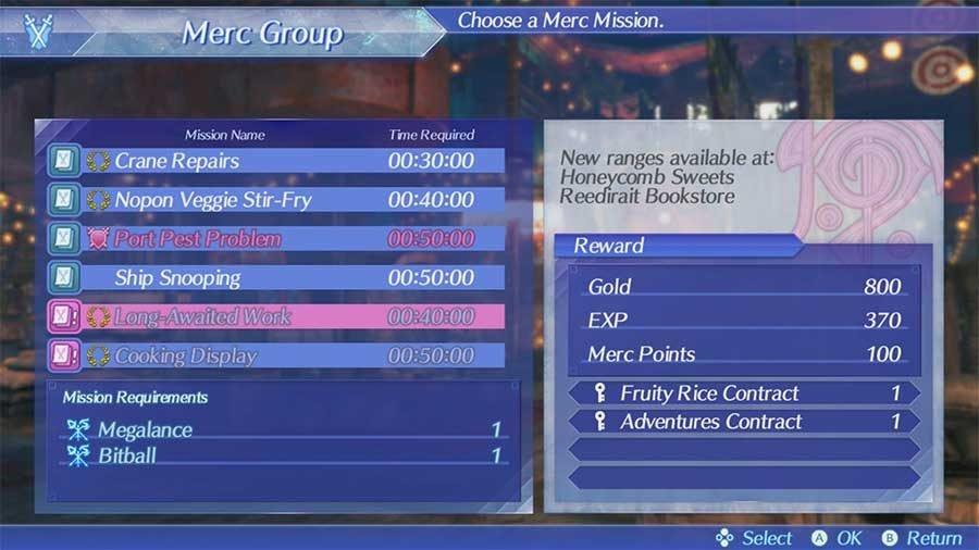 Merc Missions Rewards