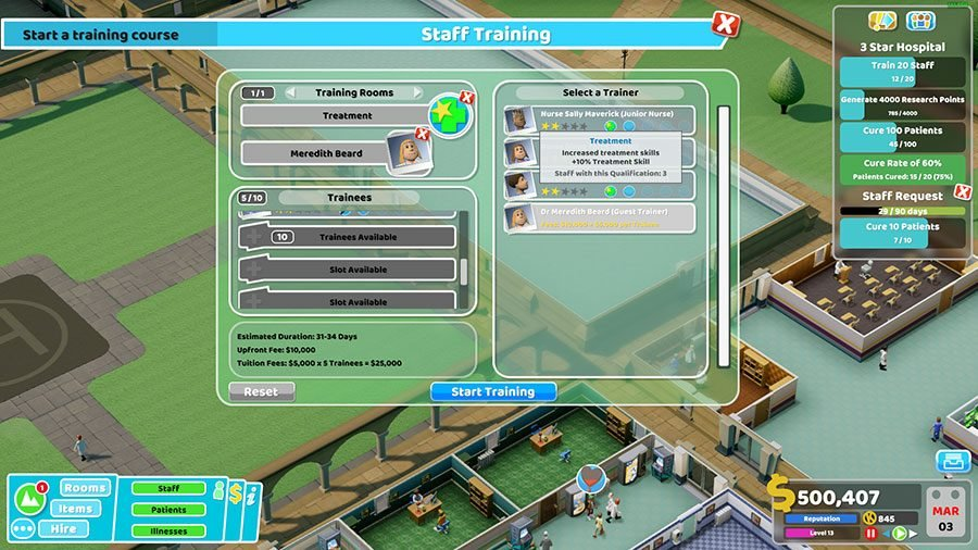 Two Point Hospital Training Guide