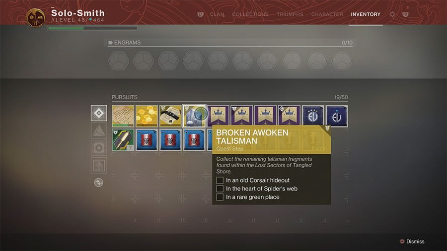 Destiny 2: Forsaken Broken Awoken Talisman Pieces Guide