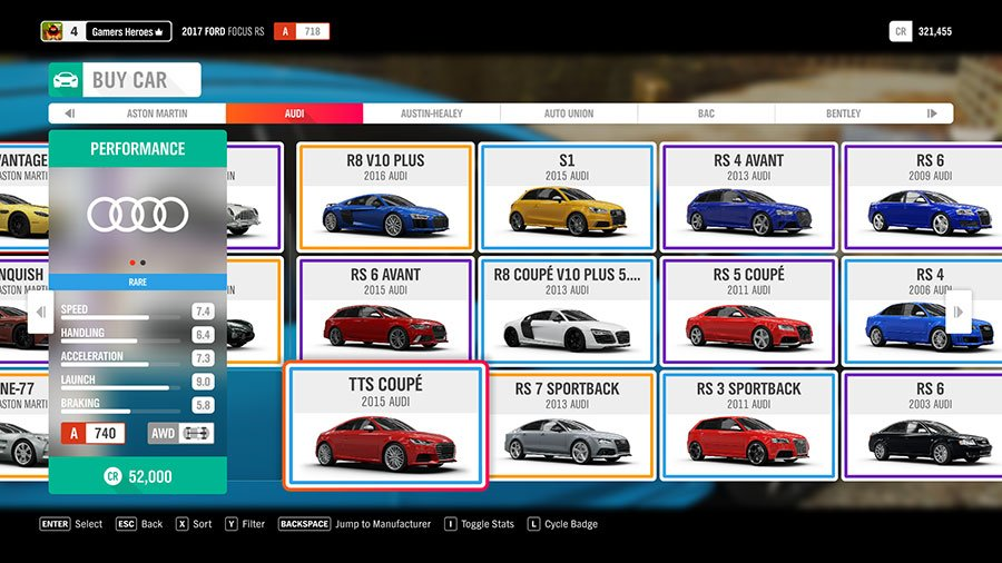 What Car To Pick At The Start Of Forza Horizon 4 Audi TTS Coupe