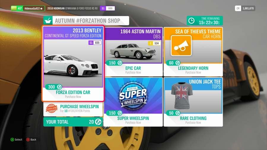 Where To Spend Forzathon Points In Forza Horizon 4