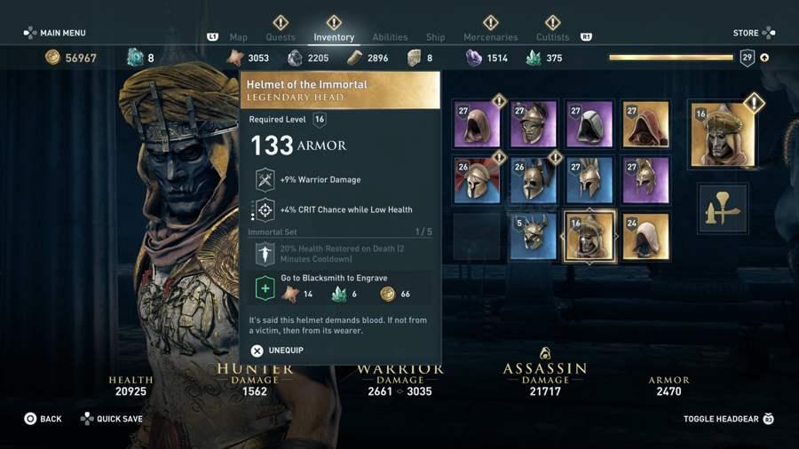 AC Odyssey Immortal Armor Set