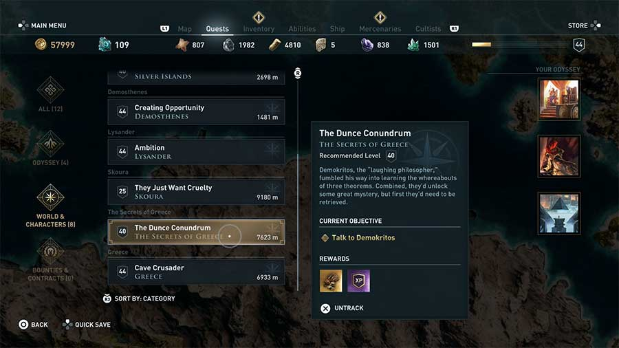 Image result for ac odyssey quest screen
