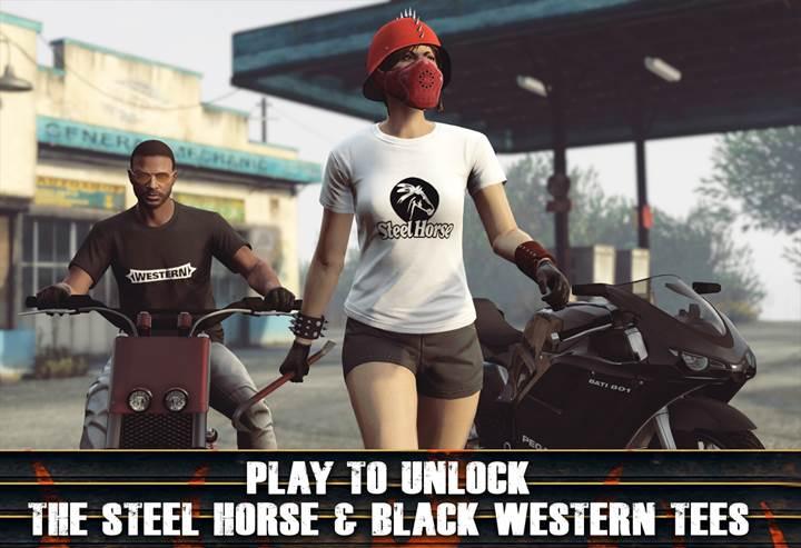 GTA Online Steel Horse Solid Logo and Black Western Tees - Gamers Heroes