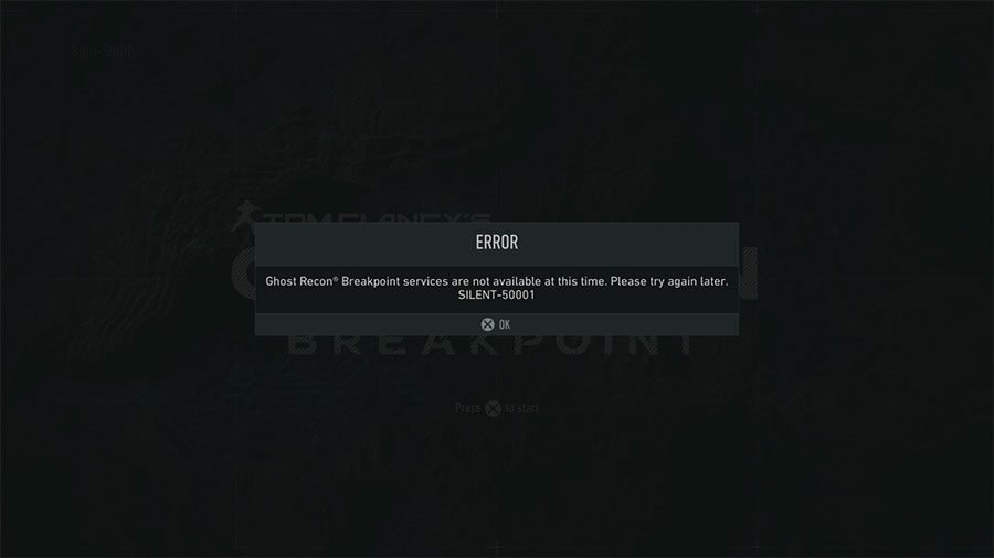 Ghost Recon Breakpoint Error Silent-50001