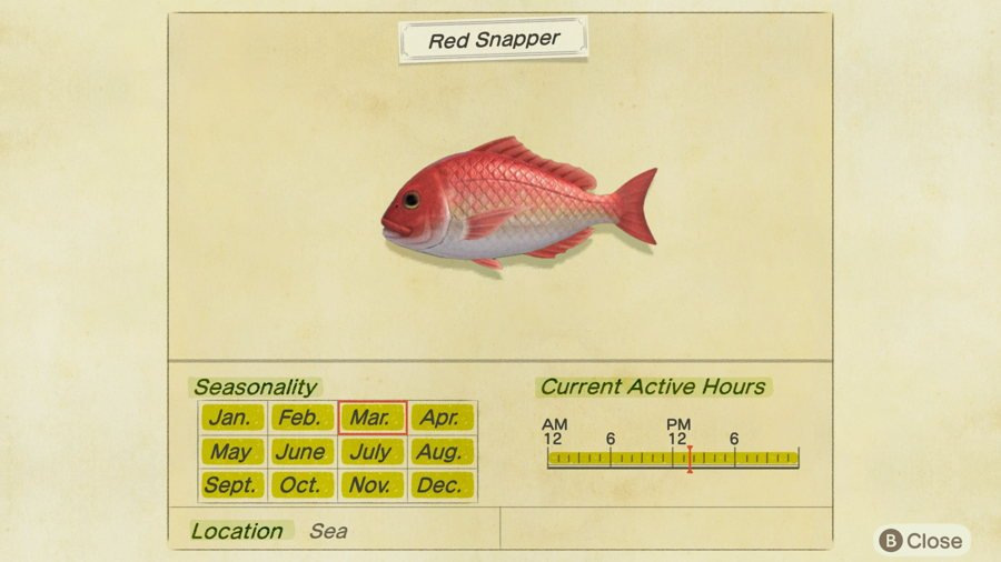 Red Snapper Animal Crossing New Horizons