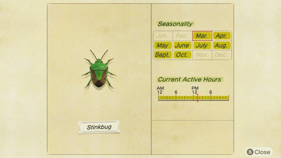 Stinkbug Location Animal Crossing New Horizons